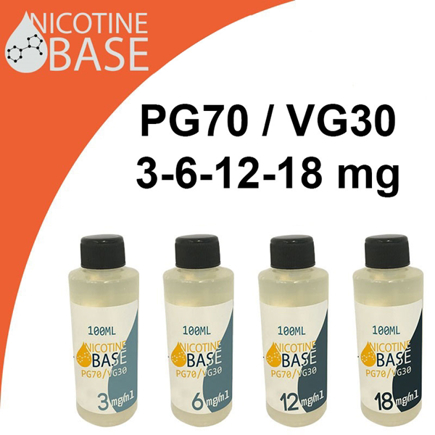 Picture of 100ml Nicotine Base VG30/PG70 3-18 mg/ml